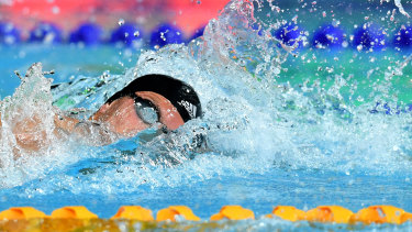 Chalmers in action on his way to winning the Mens 200 metre Freestyle Final during day one of the 2018 Australian Swimming Trials at the Gold Coast Aquatic Centre.