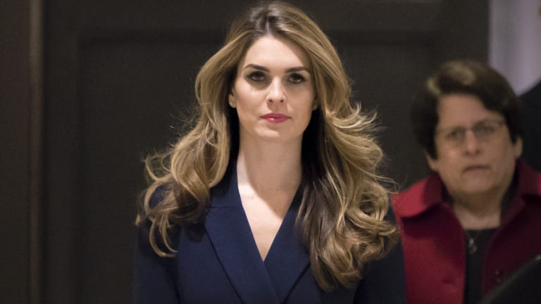 Hope Hicks arrives to meet with the House Intelligence Committee in Washington.