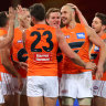 GOLD COAST, AUSTRALIA - JULY 25: Shane Mumford of the GWS Giants celebrates his goal during the round 19 AFL match between Essendon Bombers and Greater Western Sydney Giants at Metricon Stadium on July 25, 2021 in Gold Coast, Australia. (Photo by Kelly Defina/Getty Images)