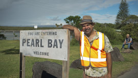 """Pearl Bay, gateway to free parking, pork pies and pelicans,"" says newcomer  Riley Bolt (Wayne Blair)."
