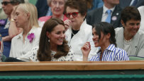 The Duchess of Cambridge and Duchess of Sussex at Wimbledon in July.