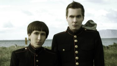 Alex Somers left) and Jonsi often favour a military look.