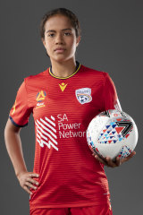 New sensation: Fowler in her Adelaide United colours.
