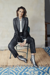 """High by Claire Campbell jacket and pants. By Malene Birger silk shirt. Senso """"Qween II"""" boots."""