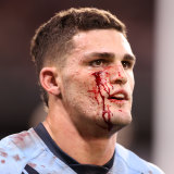 Nathan Cleary fought a battle against an open wound all first half before helping destroy the Maroons.