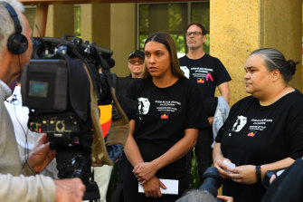 Tanya Day's daughters Apryl Watson and Belinda Day address the media outside the Coroners Court on Monday.