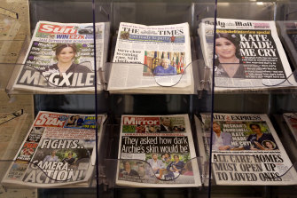 Newspapers outside a store in London following the Oprah Winfrey interview.