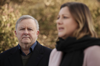 Labor leader Anthony Albanese, alongside Labor's Eden-Monaro byelection candidate Kristy McBain, is promising to restore ABC funding.