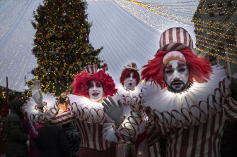 Performers add to the festivities in the lead-up to Orthodox Christmas, which is celebrated on January 7.