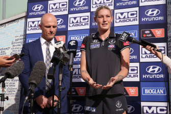 Harris with Carlton CEO Cain Liddle at a press conference she organised to discuss online abuse.