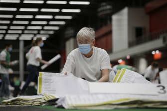 Ballot papers are sorted prior to counting in Amsterdam on Wednesday.