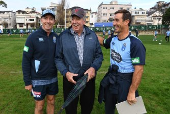 Warren Ryan (centre) with Greg Alexander and Andrew Johns (right).