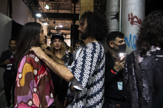Final touch-ups backstage at the First Nations Show at Carriageworks.