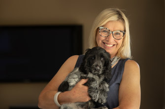Rosie Batty and her 12-week pup, Spencer.