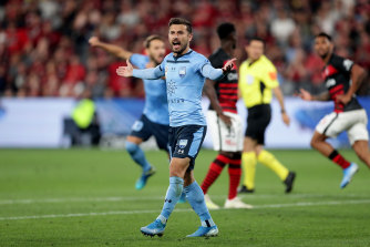 Kosta Barbarouses appeals for a goal before a VAR check decided the ball hadn't crossed the line during a match between the Western Sydney Wanderers and Sydney FC at Bankwest Stadium in October.