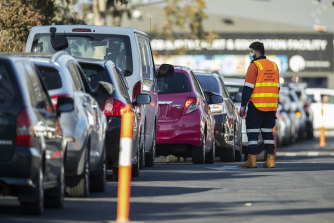 There was a long queue for virus testing in Fawkner on Wednesday.