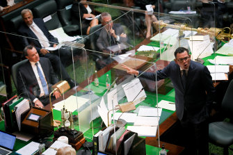 Premier Daniel Andrews and Opposition Leader Michael O'Brien in Parliament this week.