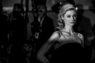 Elizabeth Debicki on the red carpet at the Venice Film Festival for The Burnt Orange Heresy.