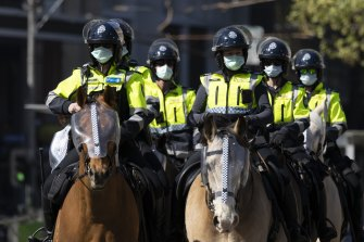 Police outside the Queen Victoria market this morning were prepared for another day of protest.