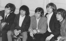 The Rolling Stones on arrival in Australia. From left: Keith Richards Bill Wyman Charlie Watts Brian Jones and Mick Jagger.