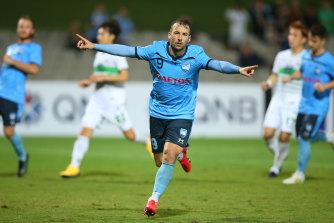 Sydney FC star Adam Le Fondre celebrates a goal against Jeonbuk Hyundai Motors back in March.