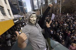 Anti-lockdown protesters in Sydney on the weekend.