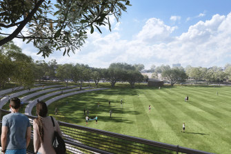 An artist's impression of the 9.5 hectares of parkland to be created above the site of the underground interchange for WestConnex at Rozelle.