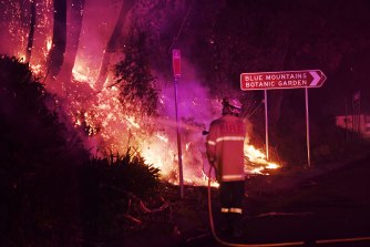 Firefighters work on a roadside fire overnight at Mount Tomah.