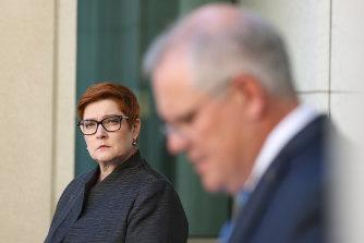 Minister for Women Marise Payne and Prime Minister Scott Morrison.