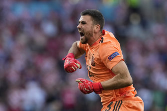 Unai Simon had particular reason to celebrate Spain's fifth goal after his bizarre error gifted Croatia the early lead in their round-of-16 Euro 2020 clash.
