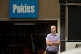 """Problem gambler"" Stuart McDonald outside a venue from which he self-excluded but where he gambles none the less"