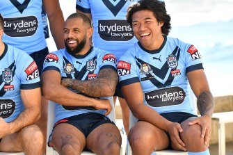NSW wingers Josh Addo-Carr and Brian To'o share a laugh at the start of last week.