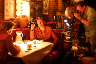 Quentin Tarantino, Leonardo DiCaprio and Brad Pitt on the set of Once Upon a Time ... in Hollywood.