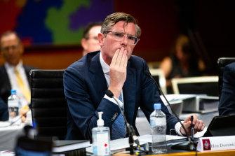 NSW Treasurer Dominic Perrottet fronts budget estimates on Monday.