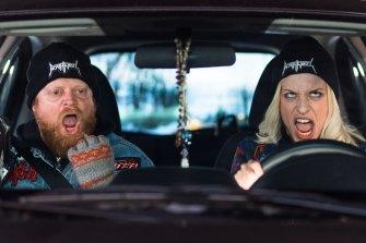 Garrett Jamieson and Emily Nixon in Heavy Metal Hitchhiker.