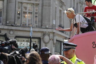 British actress Emma Thompson speaks to the media at Oxford Circus in London in April, during an Extinction Rebellion demonstration that blocked the road.