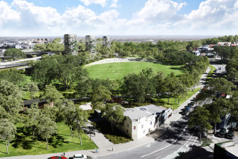 An artist's impression of the nearly 10 hectares of parkland to be created above the site of the underground interchange for WestConnex at Rozelle.