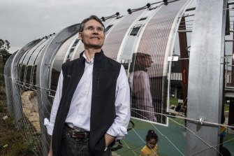 Newcastle University developer Paul Dastoor whose team has developed  wafer-thin solar panels that Lane Cove Council has installed on a lattice walkway to power a light display.