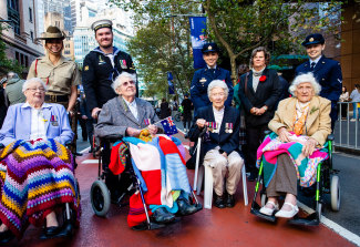 Anzac Day March participants. (left to right) Dorothy Curtis, Mavis Wheeler, Barbara Coward and Margaret Ferrier.
