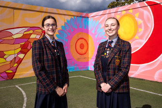 St Catherine's school captain Ella Berckelman and deputy school captain Hally Baker found new ways to lead during lockdown.