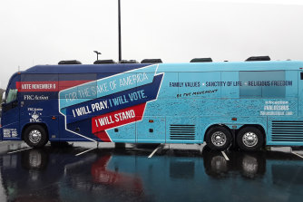 The Values Voter Bus in the Chik-fil-A car park in Charlotte.