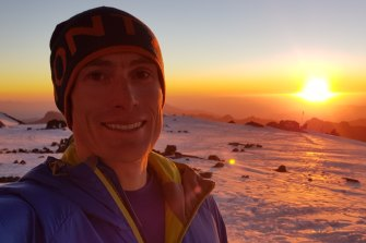 Steve Plain at Camp Nido on the night before summiting Aconcagua in Argentina