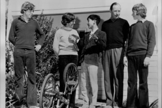 Prince Hiro with the Harper family in Point Lonsdale in 1974.