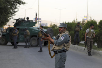 Security patrols in Kabul on Sunday. Vice-presidential candidate and former intelligence chief Amrullah Saleh survived the attack.