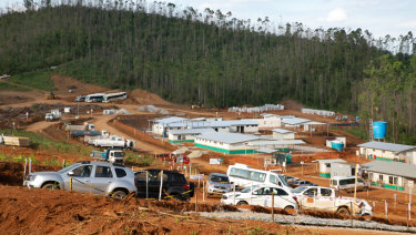 Temporary administration buildings line the roads already taking shape in the new Bento Rodrigues, Minas Gerais, Brazil.