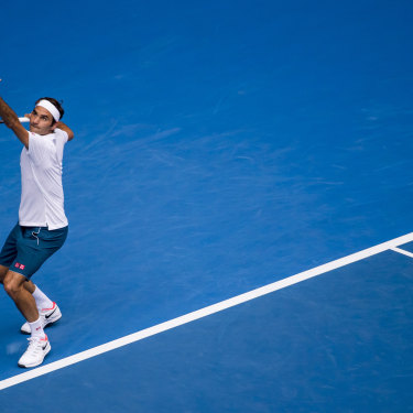 Roger Federer serving at last year's Australian Open. The Swiss great has been coming to Melbourne for two decades.