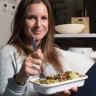 Laelia Martin tucking into a Zambrero burrito bowl.
