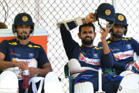 Troubled tour: Dinesh Chandimal, Lahiru Thirimanne and Roshen Silva at training at the Gabba.