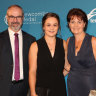 Ashleigh Barty with her parents Robert and Josie.
