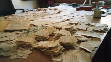 Fragments of hand-ripped files at the Stasi File Authority's outpost in 2000.